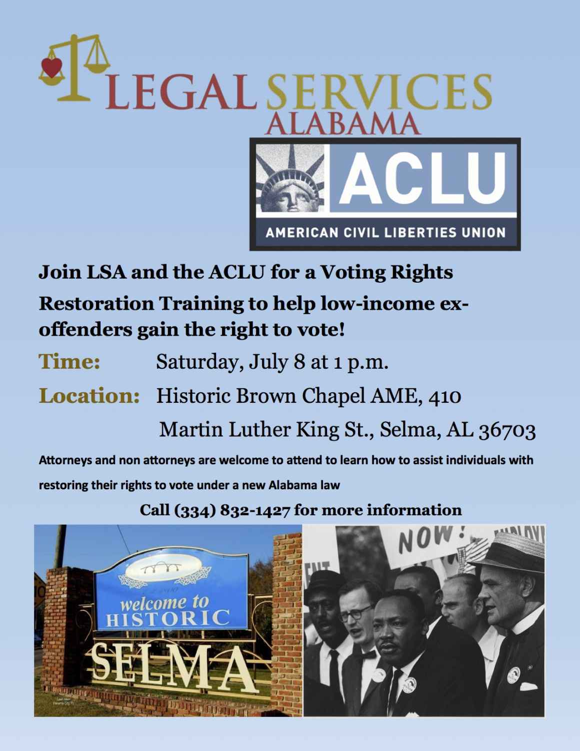 join LSA and ACLU for Voting Rights Restoration Training flyer