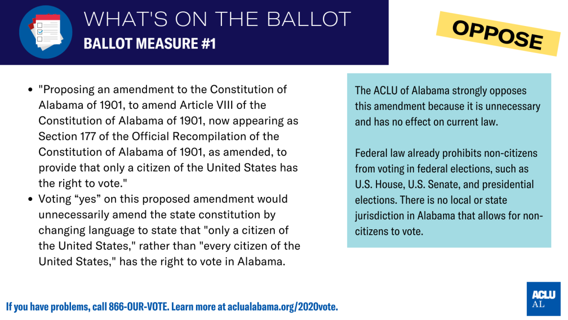 aclu of als's position on ballot measure #1