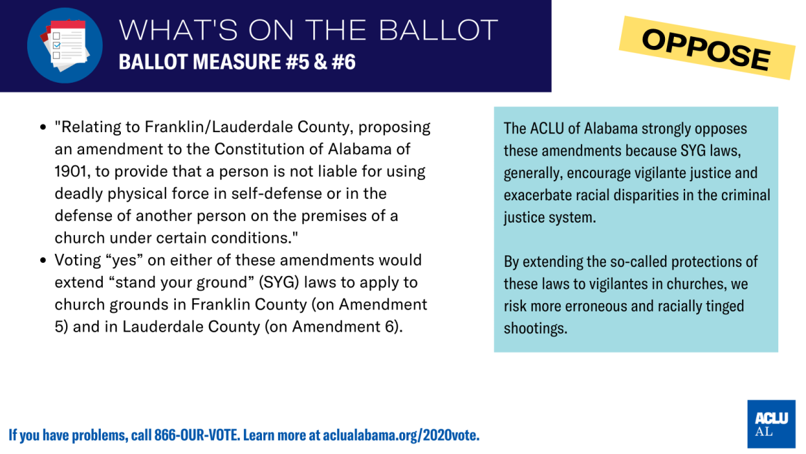 aclu of als's position on ballot measure #5 & #6