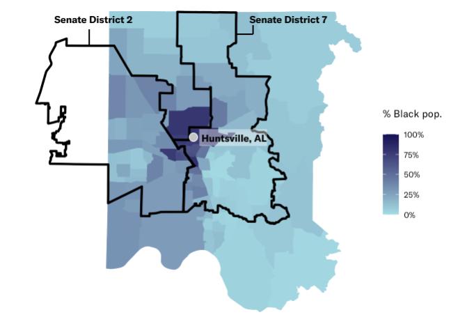 map of Huntsville showing Black population density and district lines