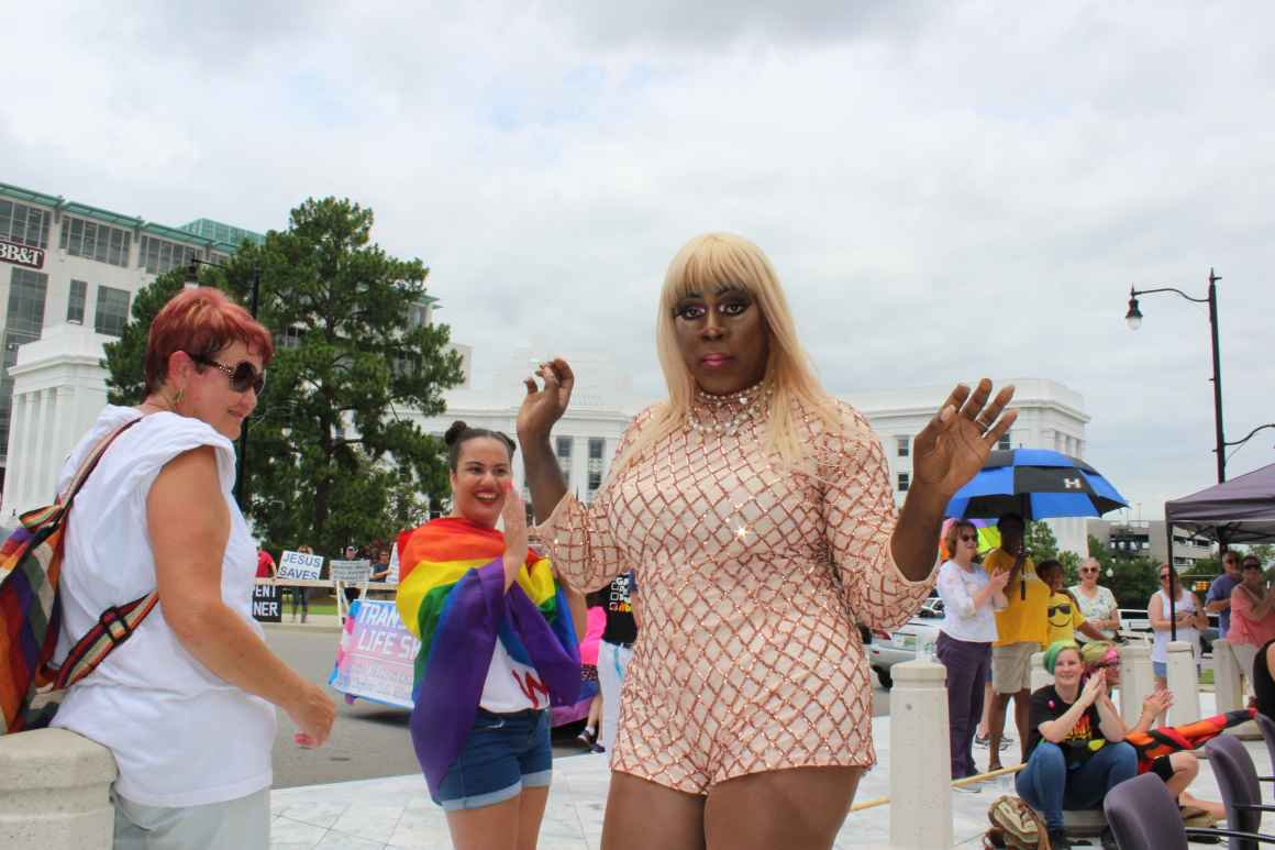 drag queen performing at montgomery pride