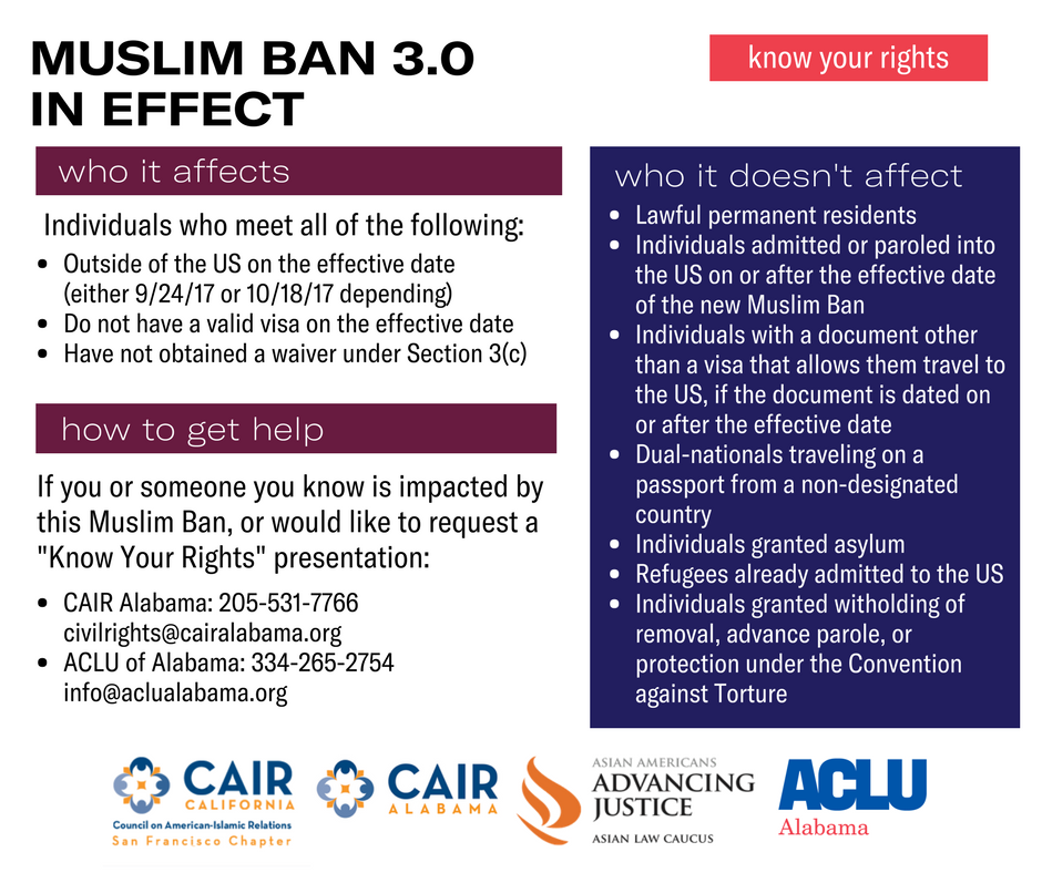 know your rights muslim ban infographic