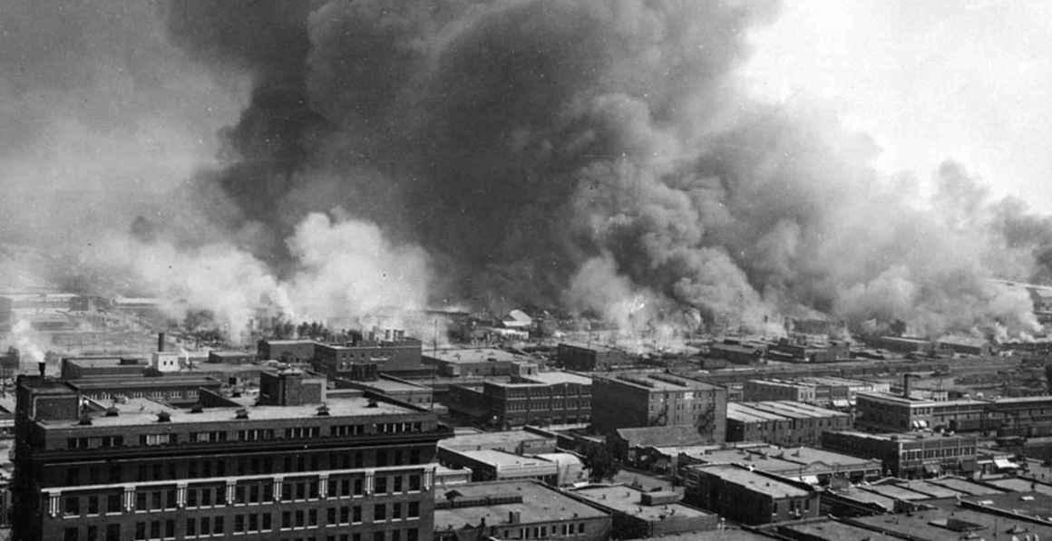 Greenwood neighborhood in flames during the 1921 massacre