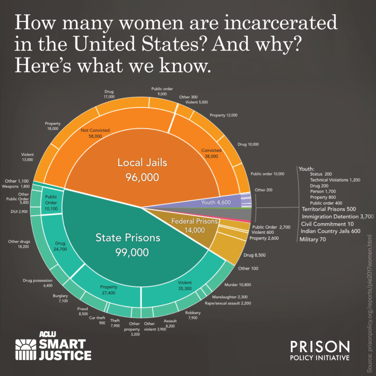 pie chart of incarceration rates for women