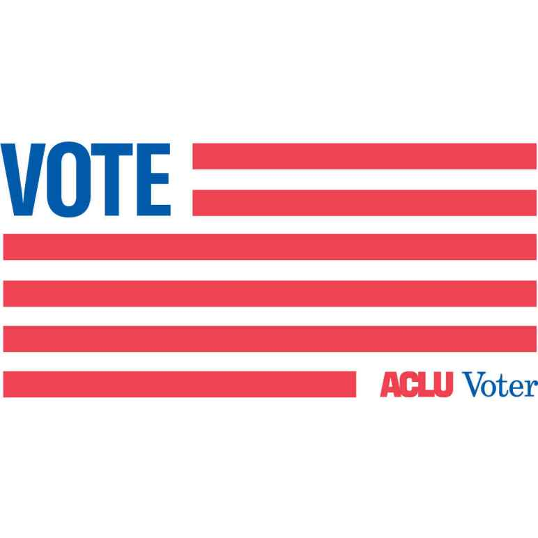 "red and white striped flag with words ""vote"" and ""ACLU Voter"""