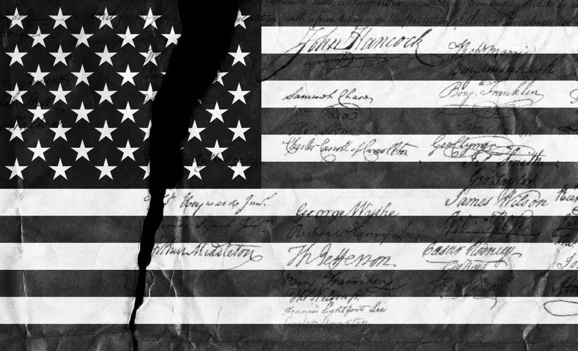 black and white flag with signatures