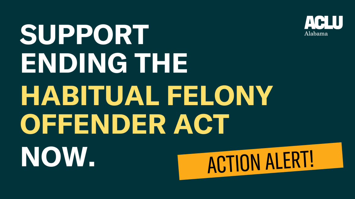 A dark green graphic asking viewers to support ending the Habitual Felony Offender Act.