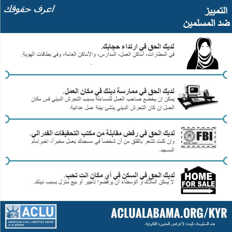 kyr anti-Muslim discrimination graphic in Arabic