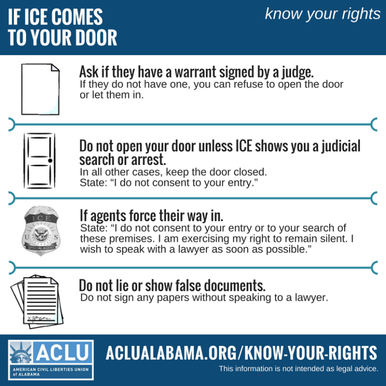 if ICE comes to your door infographic