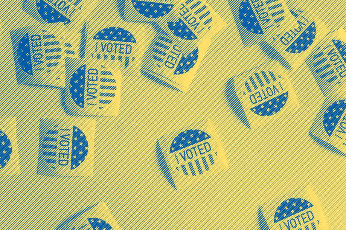 i voted stickers with a yellow and blue gradient