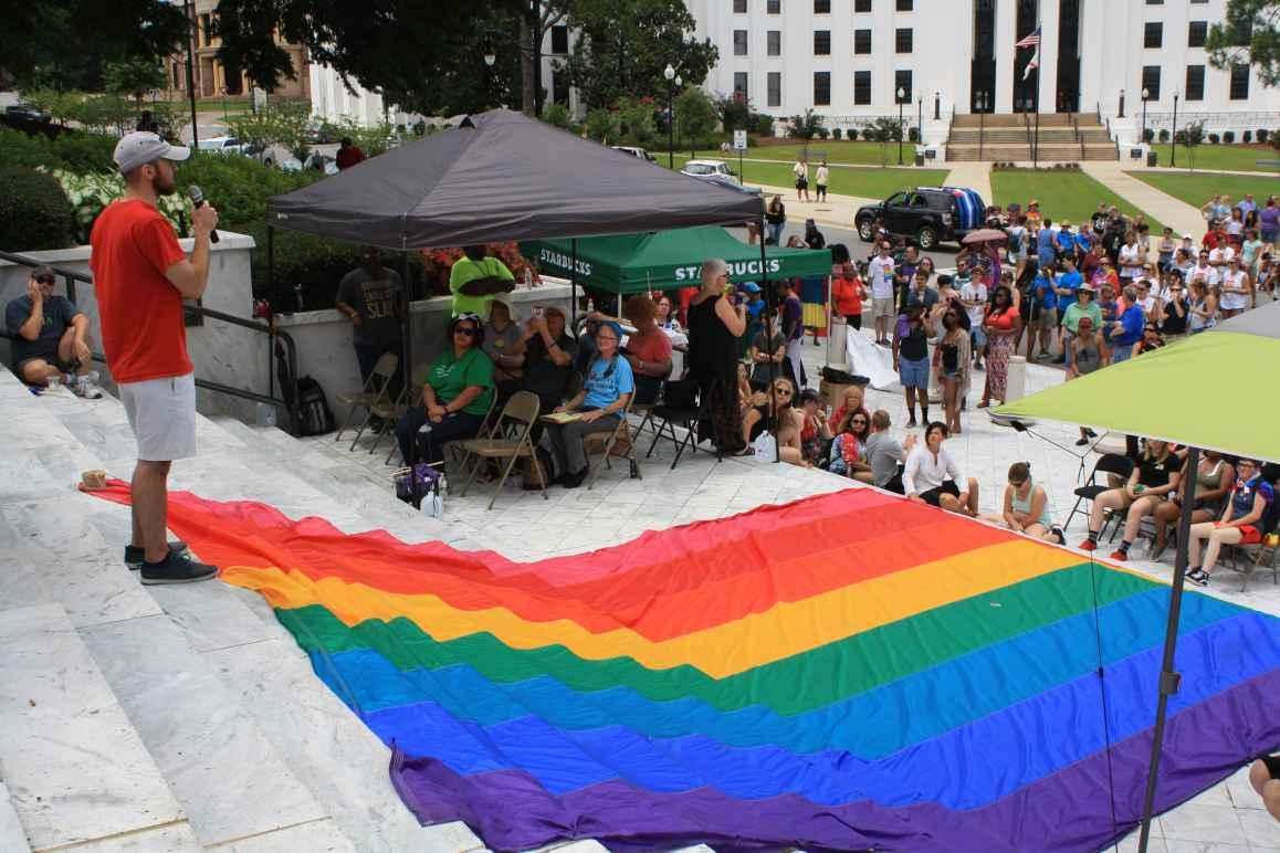 Brock Boone speaking at Montgomery Pride 2017