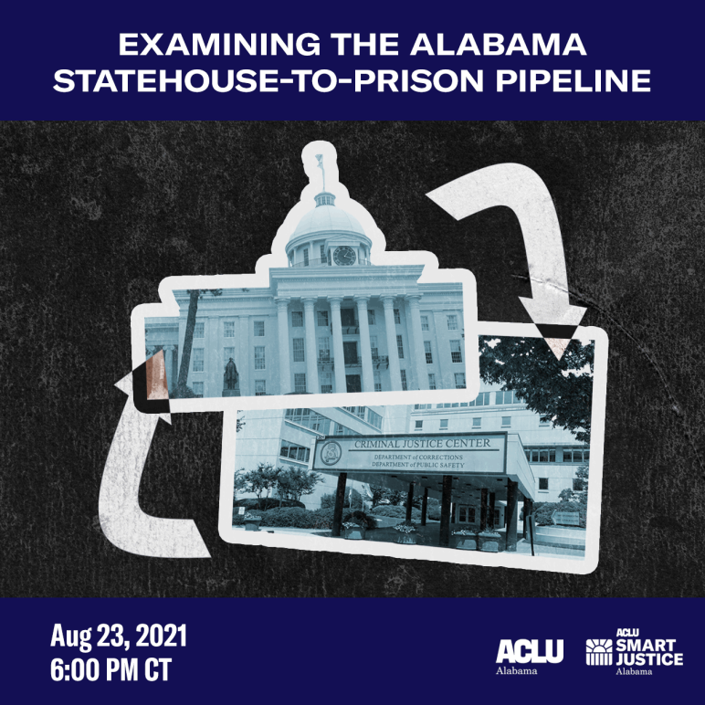 cover art with image of Alabama Capitol and Pardons and Paroles office with arrows pointing to eachother