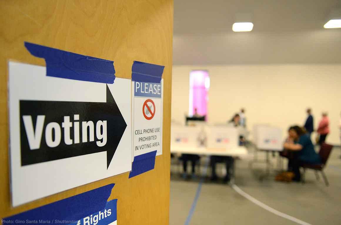 Voting Sign on a door