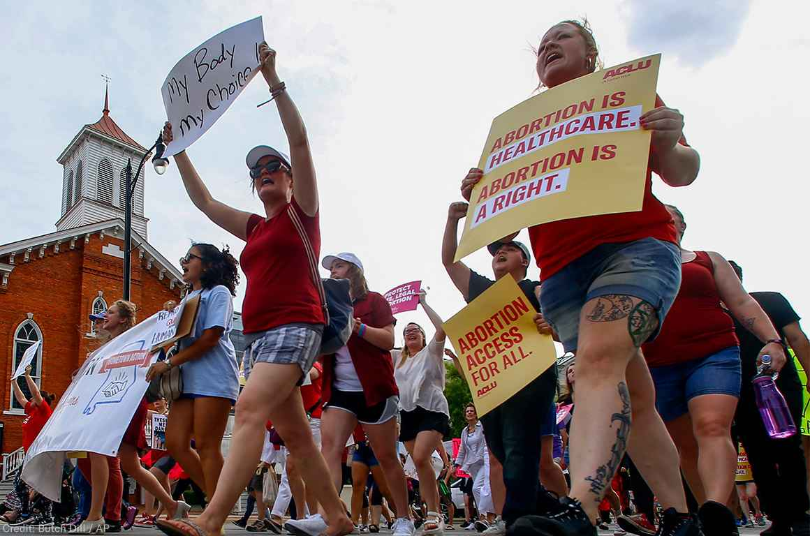 Protesters marching at abortion rally