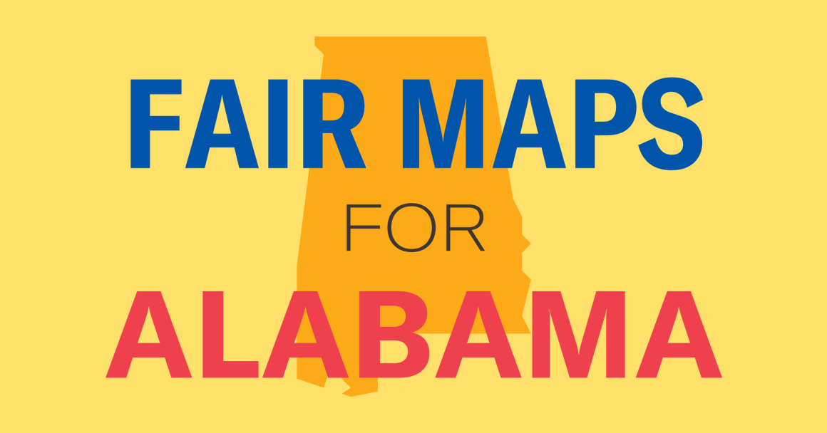 """yellow box with text """"fair maps for Alabama"""""""