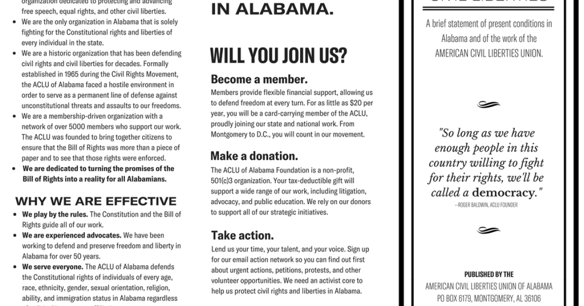 aclu of alabama quick facts aclu of alabama